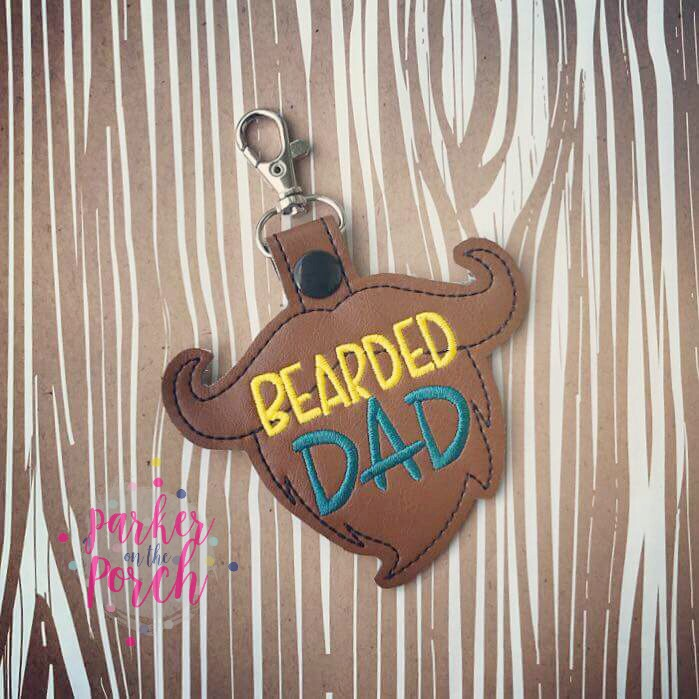 Digital Download - Bearded Dad Snaptab - in the hoop machine embroidery ITH pattern