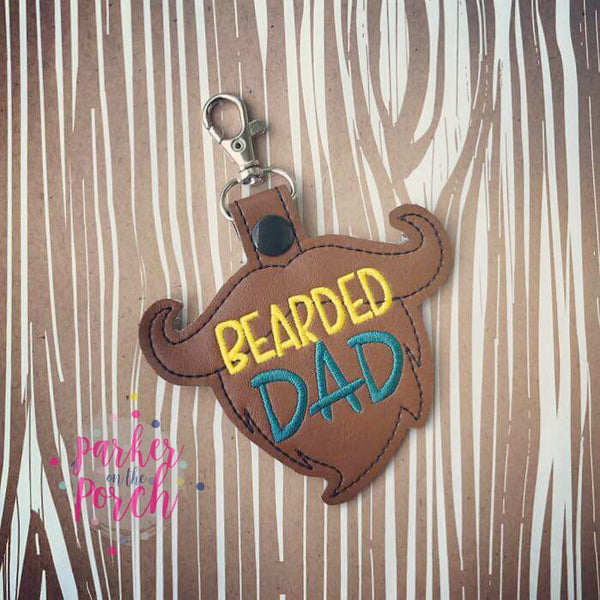 Digital Download- Bearded Dad Snaptab - in the hoop machine embroidery
