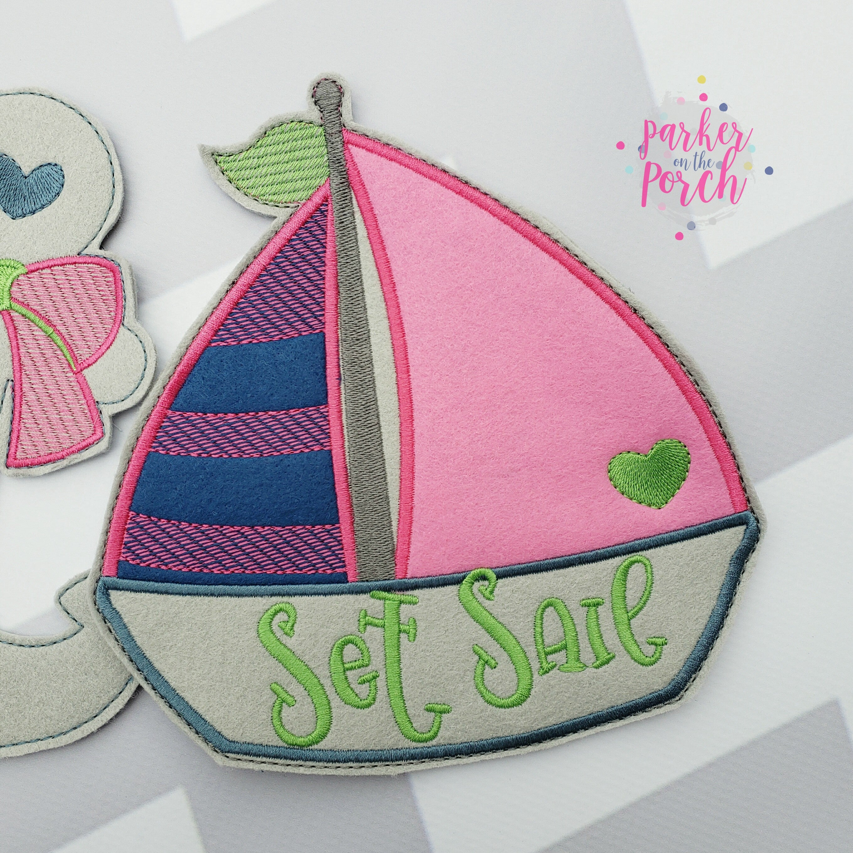 Digital Download- Sail Boat Banner - in the hoop machine embroidery