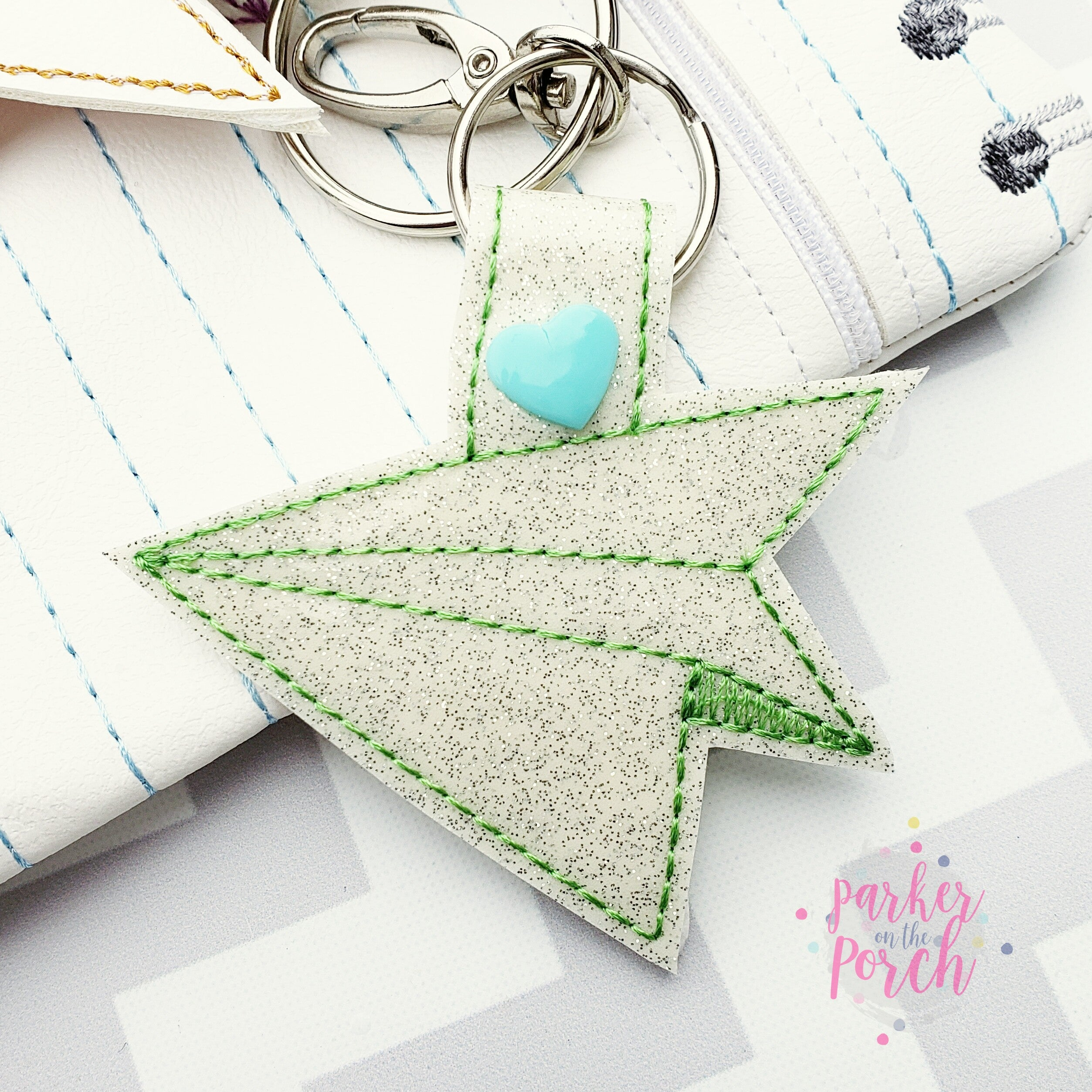 Digital Download- Paper Airplane Snaptab - in the hoop machine embroidery
