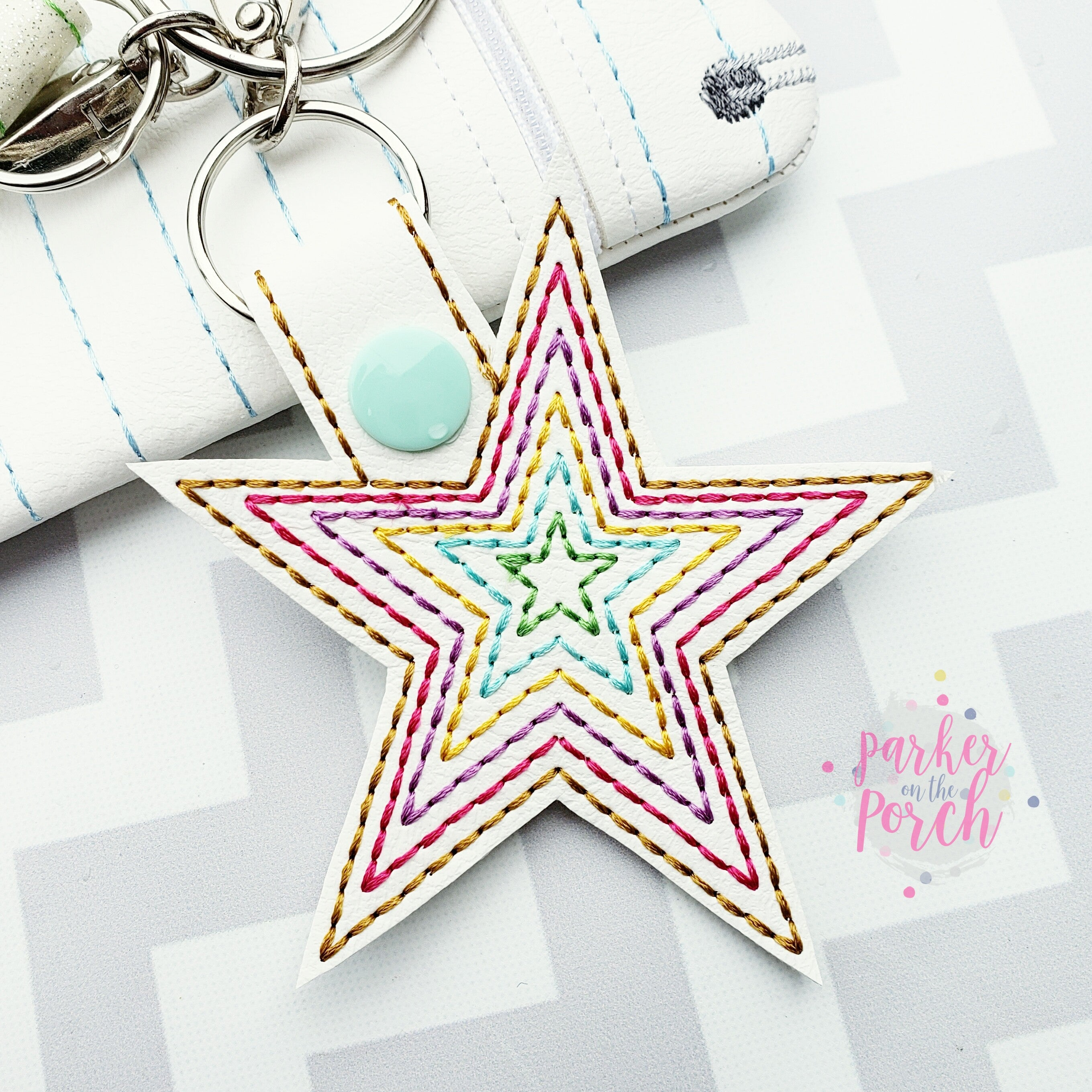 Digital Download- Rainbow Star Snaptab - in the hoop machine embroidery