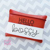 Digital Download - Hello My Name is Zipper Bag - in the hoop machine embroidery ITH pattern