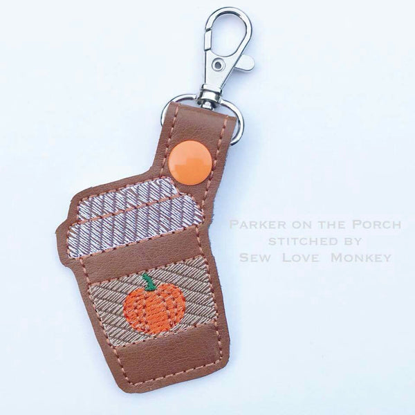 Digital Download- Pumpkin Spice Latte Snaptab - in the hoop machine embroidery