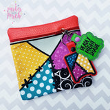 Digital Download - Magical Patchwork Zipper Bag - in the hoop machine embroidery ITH pattern