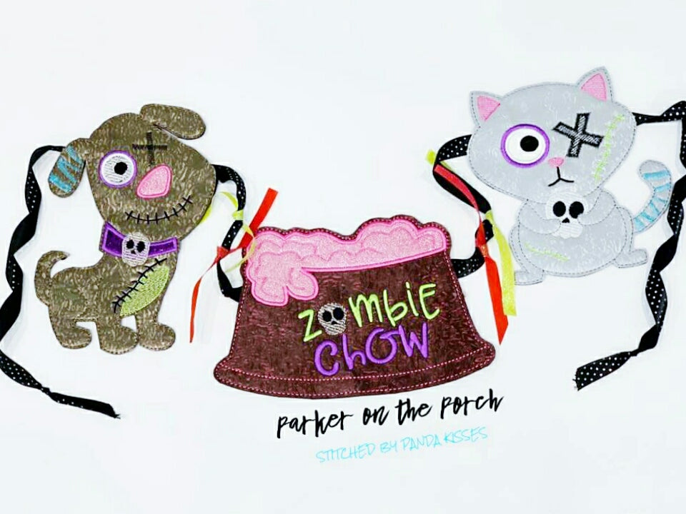 Digital Download- Zombie Pets Banner - in the hoop machine embroidery ITH pattern