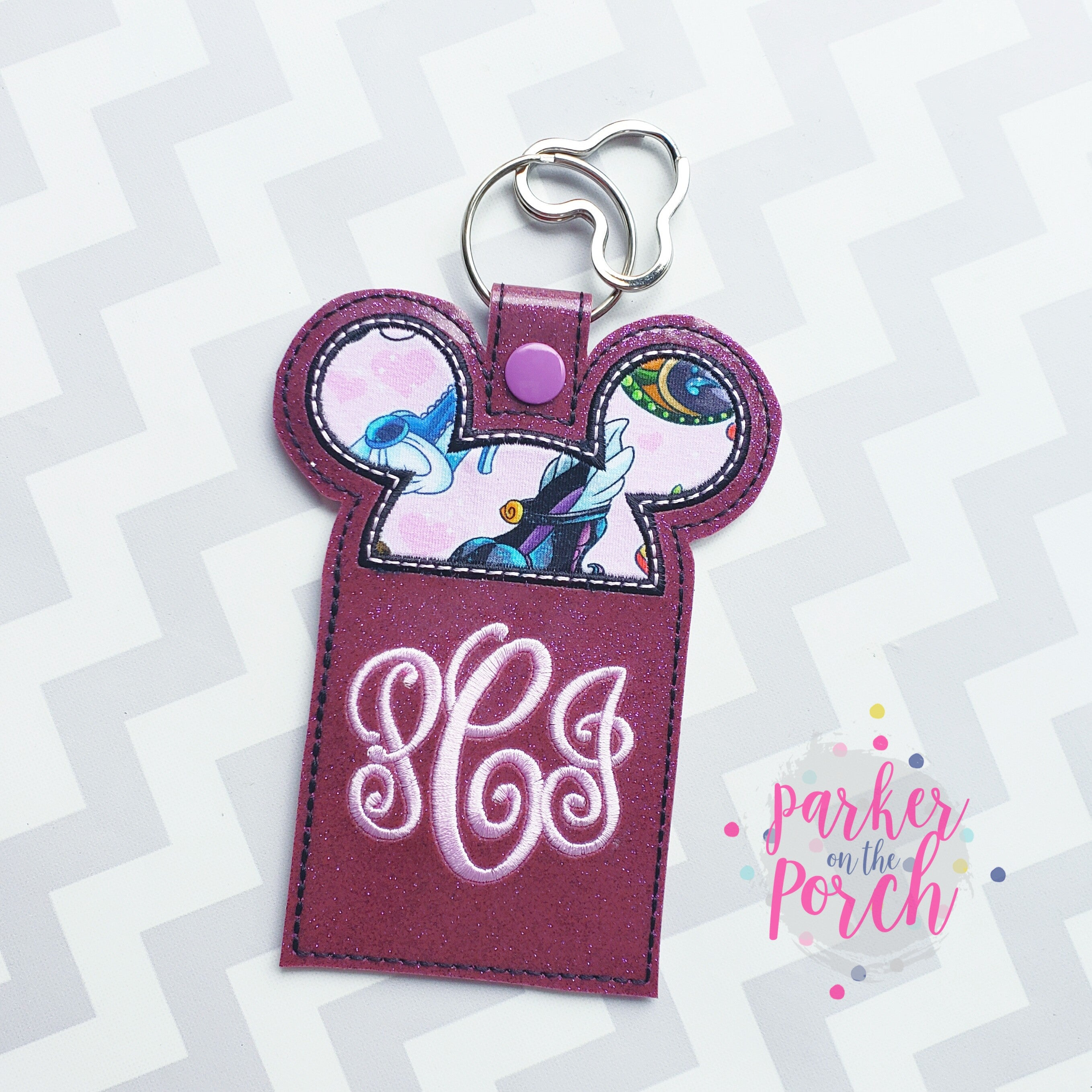 Digital Download- Magical Ears Luggage Snaptab Tag - in the hoop machine embroidery