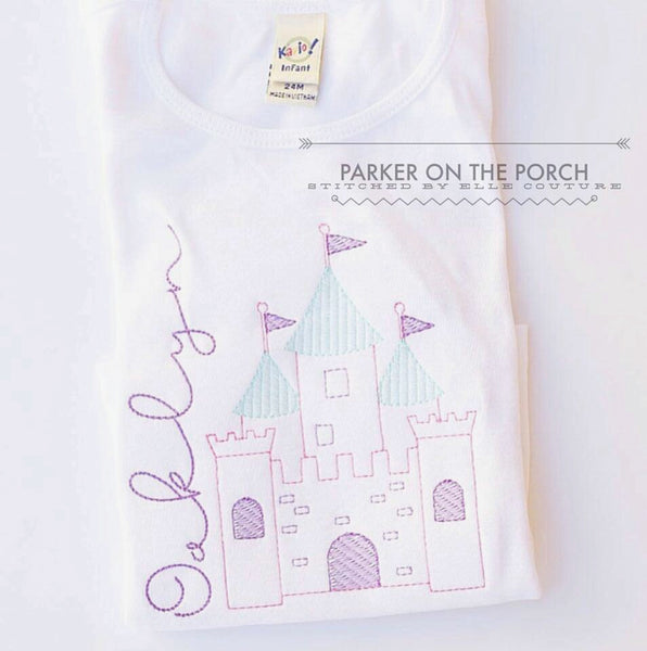 Digital Download- Sketch Castle Embroidery Fill - in the hoop machine embroidery ITH pattern