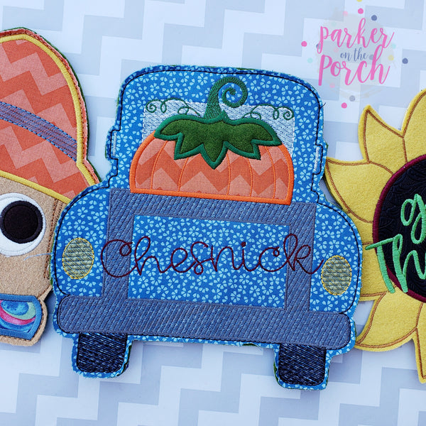 Digital Download- Fall Truck Banner - in the hoop machine embroidery