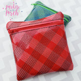 Digital Download - Plaid Zipper Bag - in the hoop machine embroidery ITH pattern
