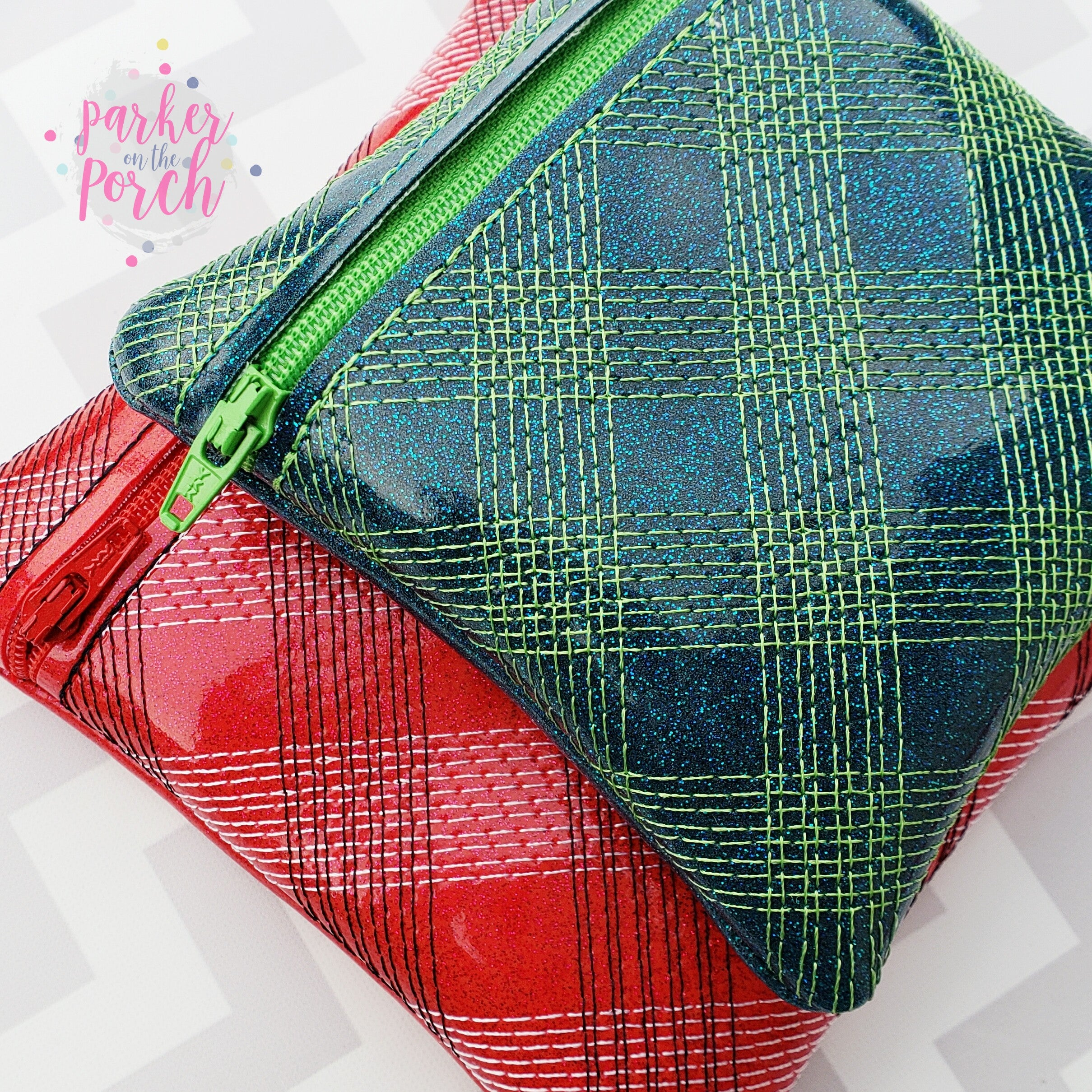 Digital Download- Plaid Zipper Bag - in the hoop machine embroidery