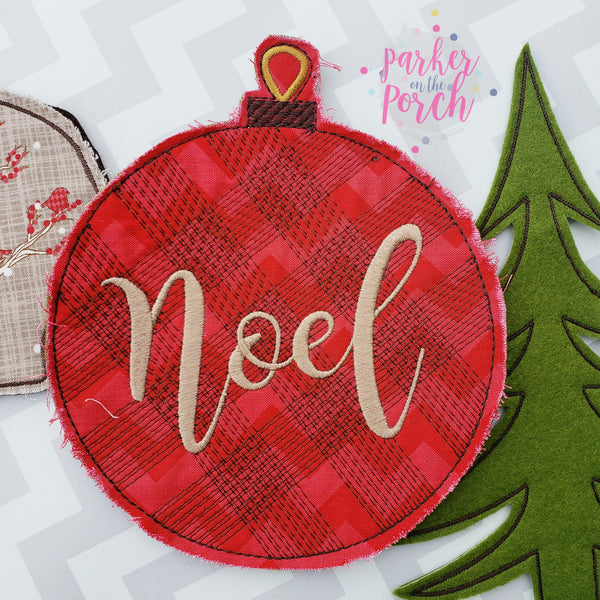Digital Download- Plaid Ornament Banner - in the hoop machine embroidery