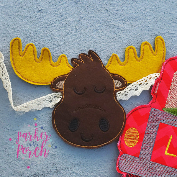 Digital Download- Moose Banner - in the hoop machine embroidery