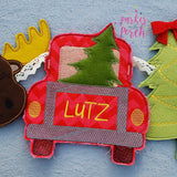 Digital Download- Christmas Truck Banner - in the hoop machine embroidery ITH pattern