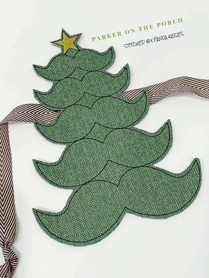 Digital Download- Mustache Christmas Tree Banner - in the hoop machine embroidery ITH pattern