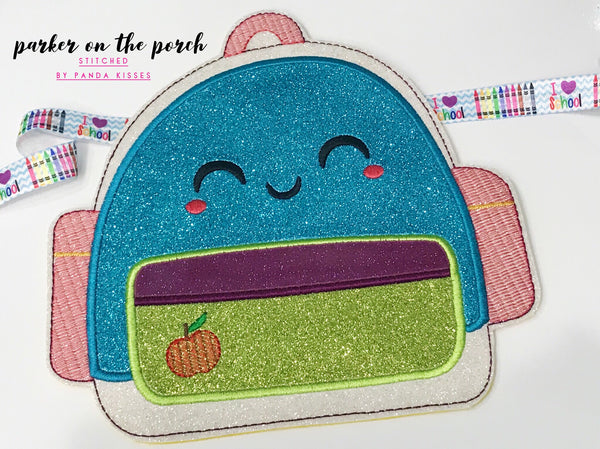 Digital Download- School Days- Backpack Banner - in the hoop machine embroidery