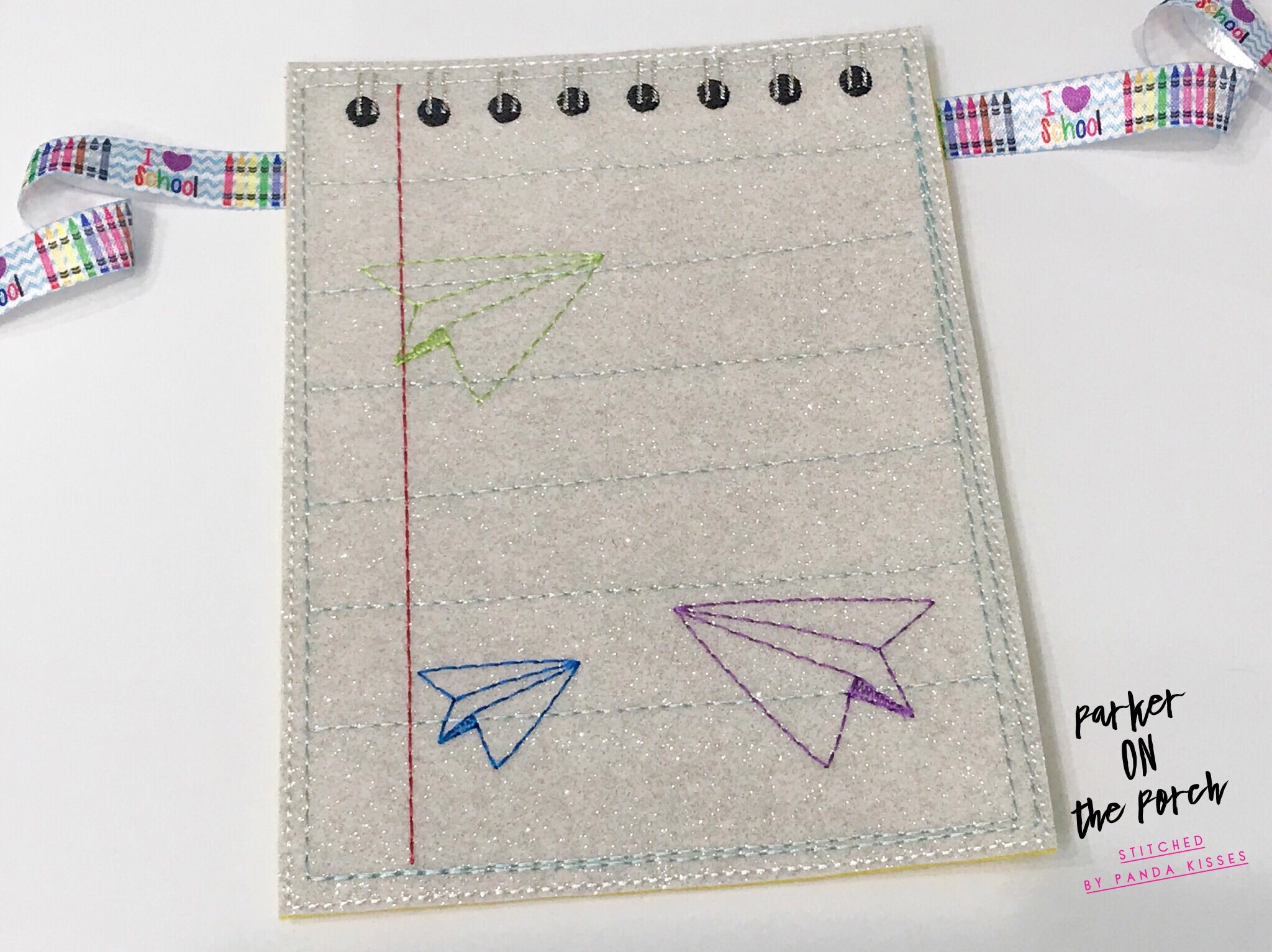 Digital Download- School Days- Notepad Banner - in the hoop machine embroidery ITH pattern