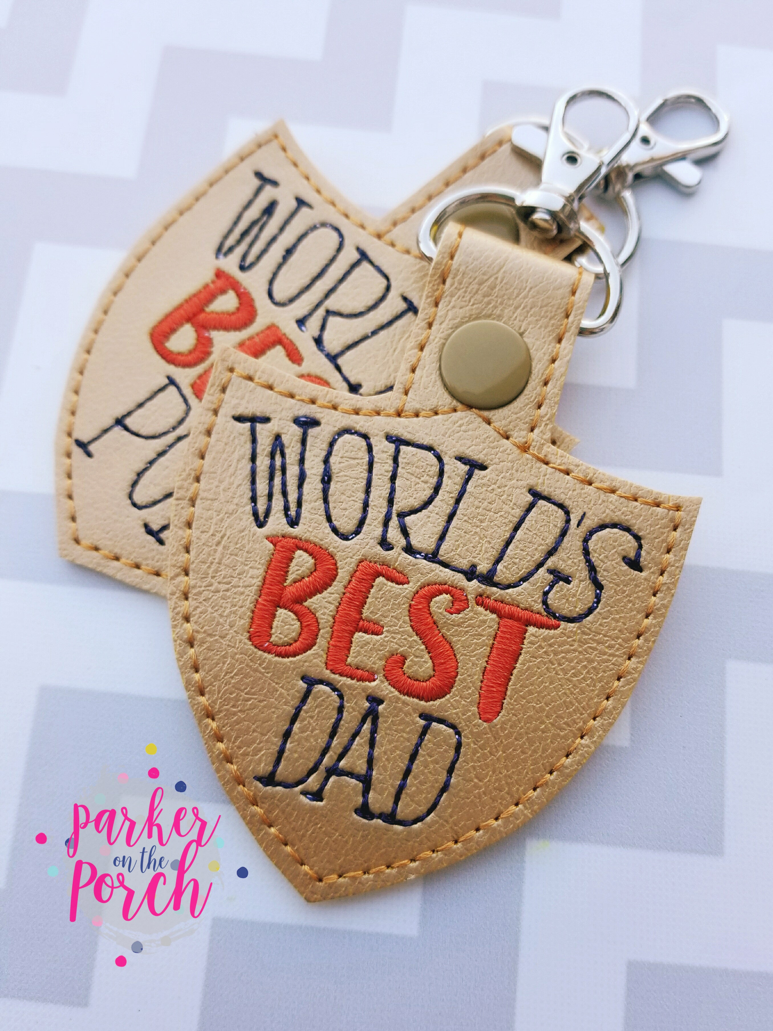 Digital Download- World's Best Dad, Papa, Pop Snaptab - in the hoop machine embroidery