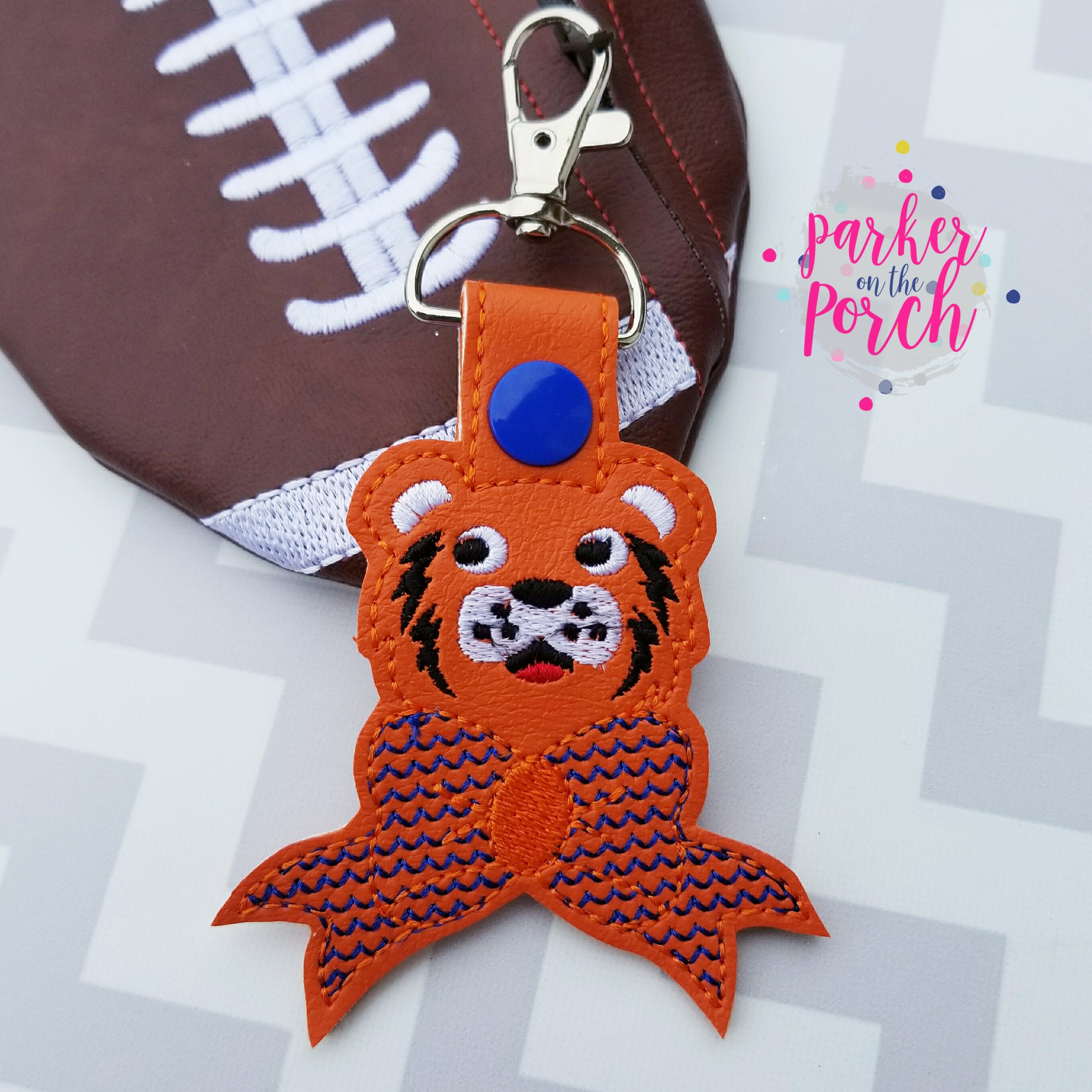 Digital Download- Cheer Bow Mascot- Tiger Snaptab - in the hoop machine embroidery ITH pattern