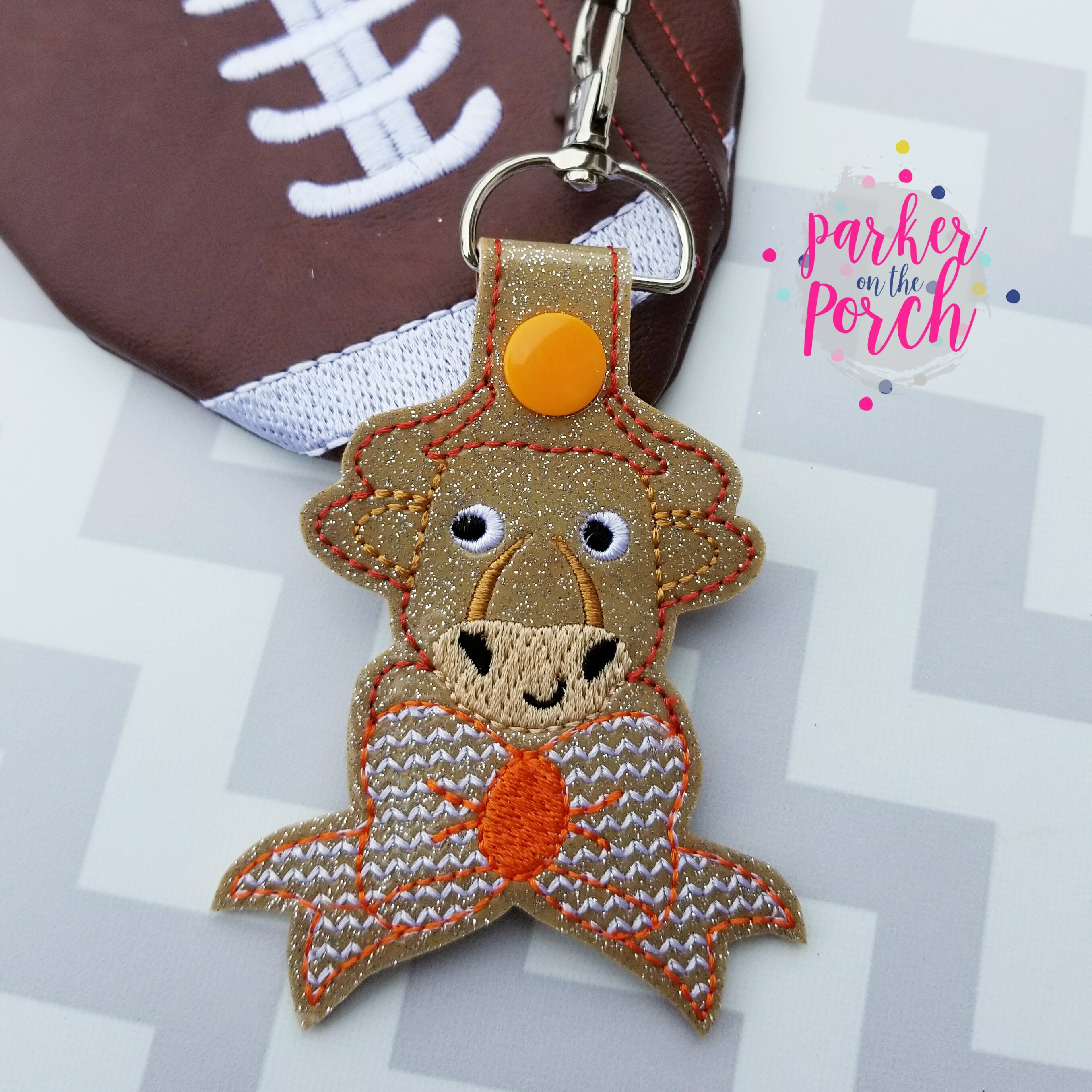 Digital Download- Cheer Bow Mascot- Longhorn Snaptab - in the hoop machine embroidery