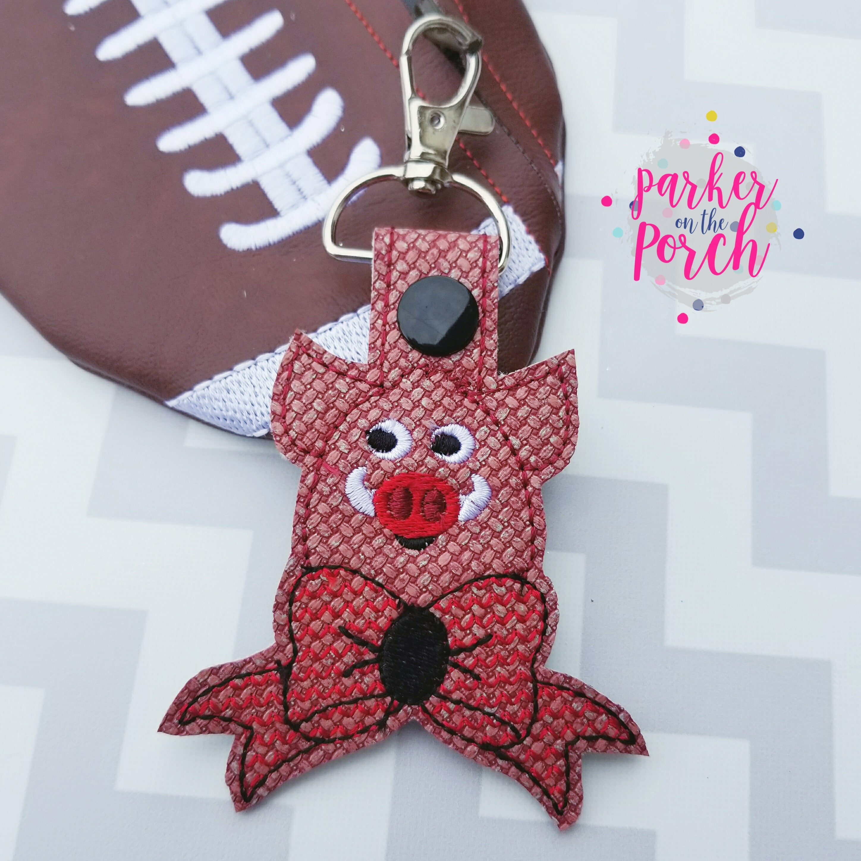 Digital Download- Cheer Bow Mascot- Hog Snaptab - in the hoop machine embroidery