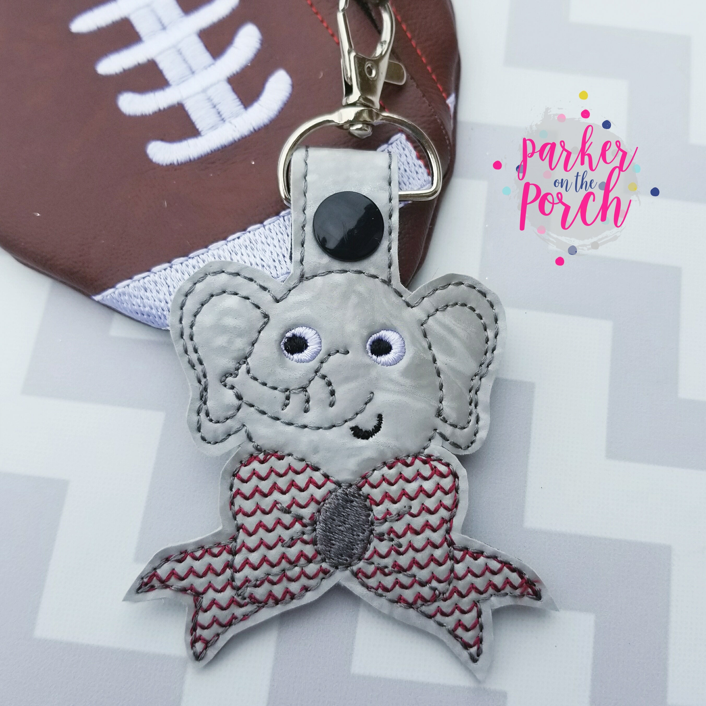 Digital Download- Cheer Bow Mascot- Elephant Snaptab - in the hoop machine embroidery