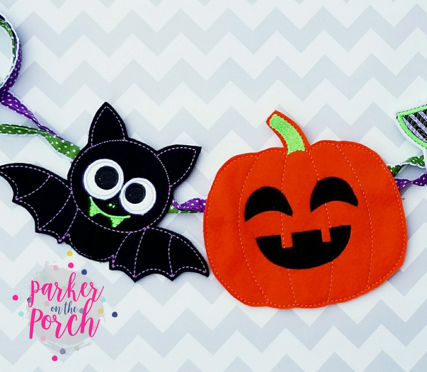 Digital Download- Ghoul Gang ITH Banner Set of 3- Boy Ghost, Pumpkin & Bat - in the hoop machine embroidery