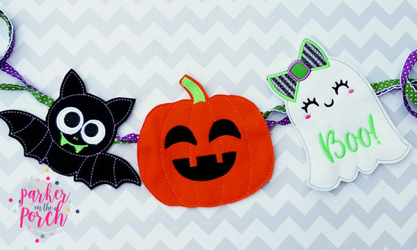 Machine Embroidery Download- Ghoul Gang ITH Banner Set of 3.  Girl Ghost, Pumpkin & Bat - in the hoop machine embroidery ITH pattern