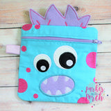 Digital Download - Monster Zipper Bag - in the hoop machine embroidery ITH pattern