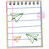 Digital Download- School Days- Notepad Banner - in the hoop machine embroidery