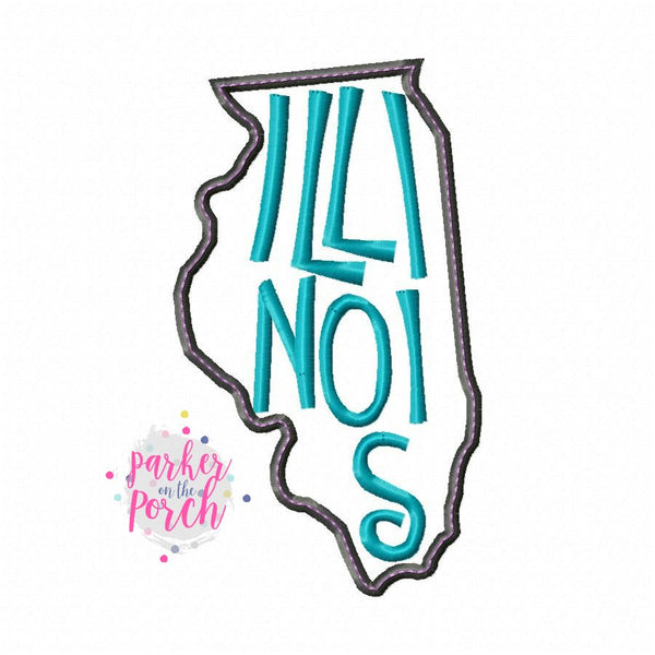 Digital Download- Home State Illinois Embroidery Fill - in the hoop machine embroidery ITH pattern