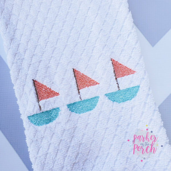 Digital Download- Sailboat Cross Stitch - in the hoop machine embroidery ITH pattern