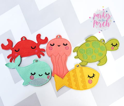 Digital Download- Sea Creatures Banner Bundle Set - in the hoop machine embroidery ITH pattern