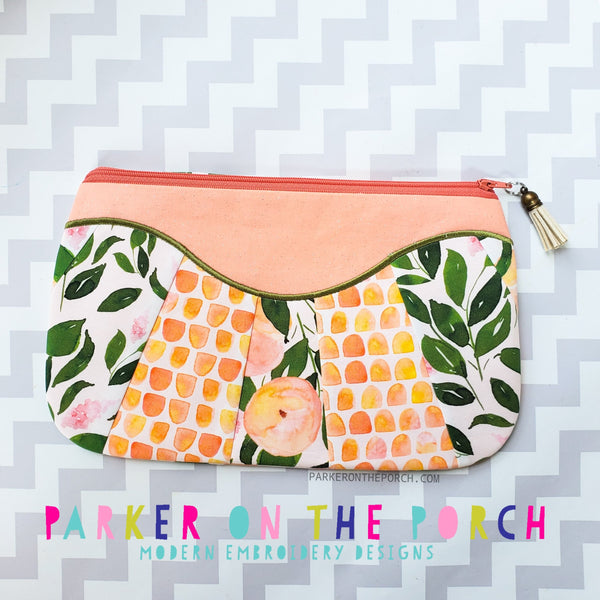 Digital Download- The Daybreak Top Zip Pieced Front Applique Zipper Bag - in the hoop machine embroidery ITH pattern