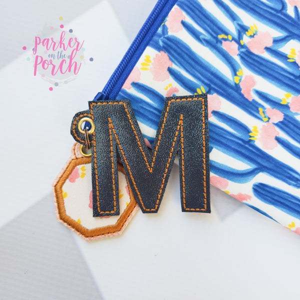 Digital Download - Alpha Monogram Mini Charms - in the hoop machine embroidery ITH pattern