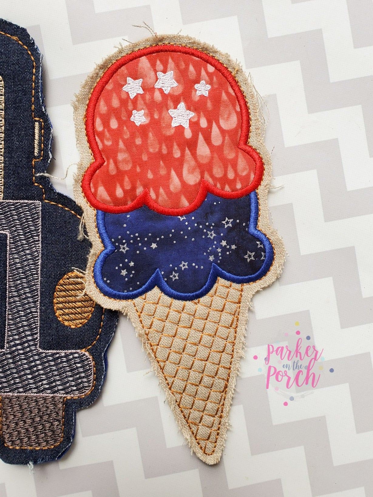Digital Download- Ice Cream Cone Banner - in the hoop machine embroidery ITH pattern
