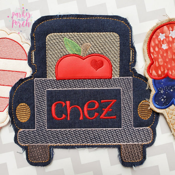 Digital Download- Apple Truck Banner - in the hoop machine embroidery ITH pattern