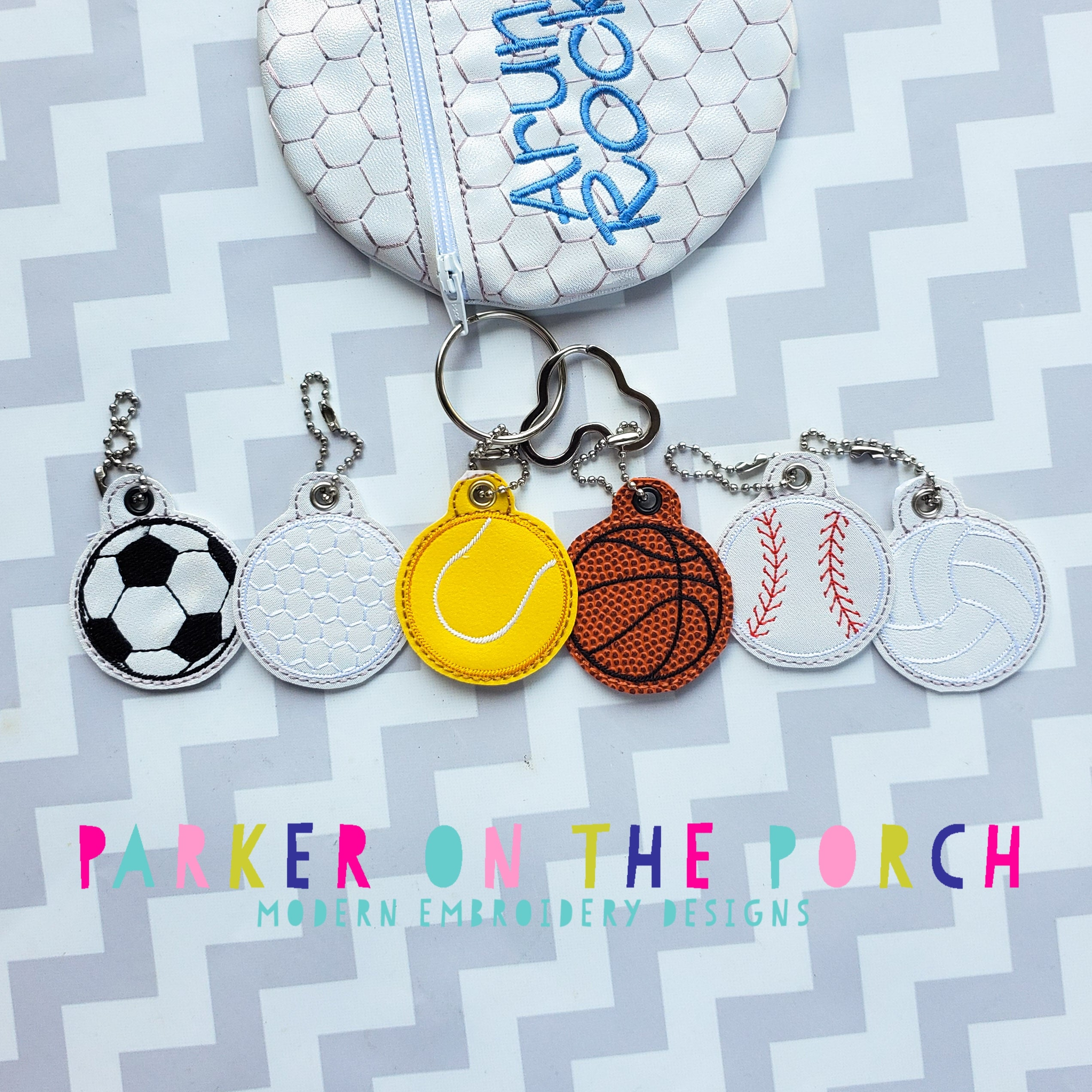 Digital Download - Sport  Charms - Set 1 - in the hoop machine embroidery ITH pattern
