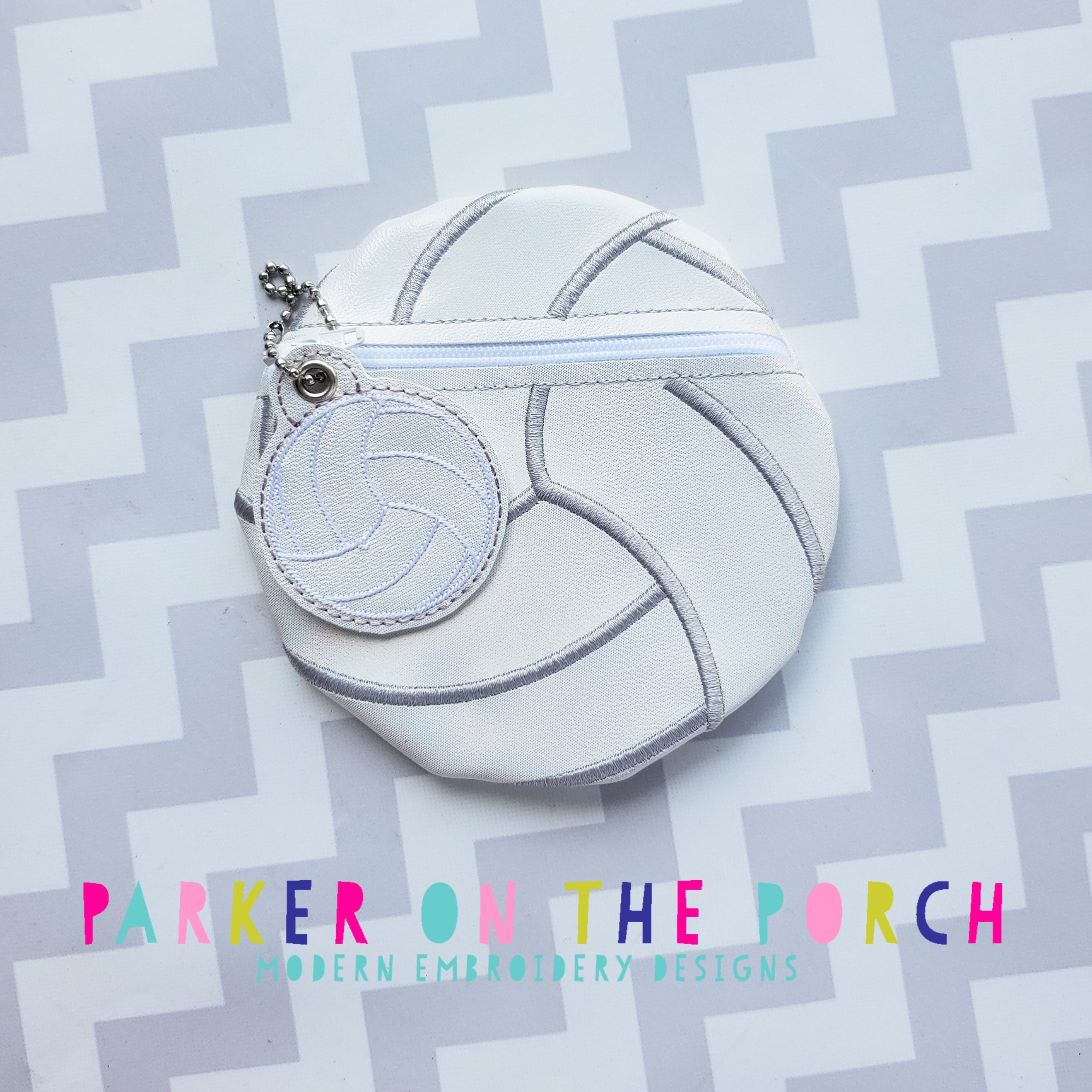 Digital Download - Volleyball Zipper Bag - in the hoop machine embroidery ITH pattern