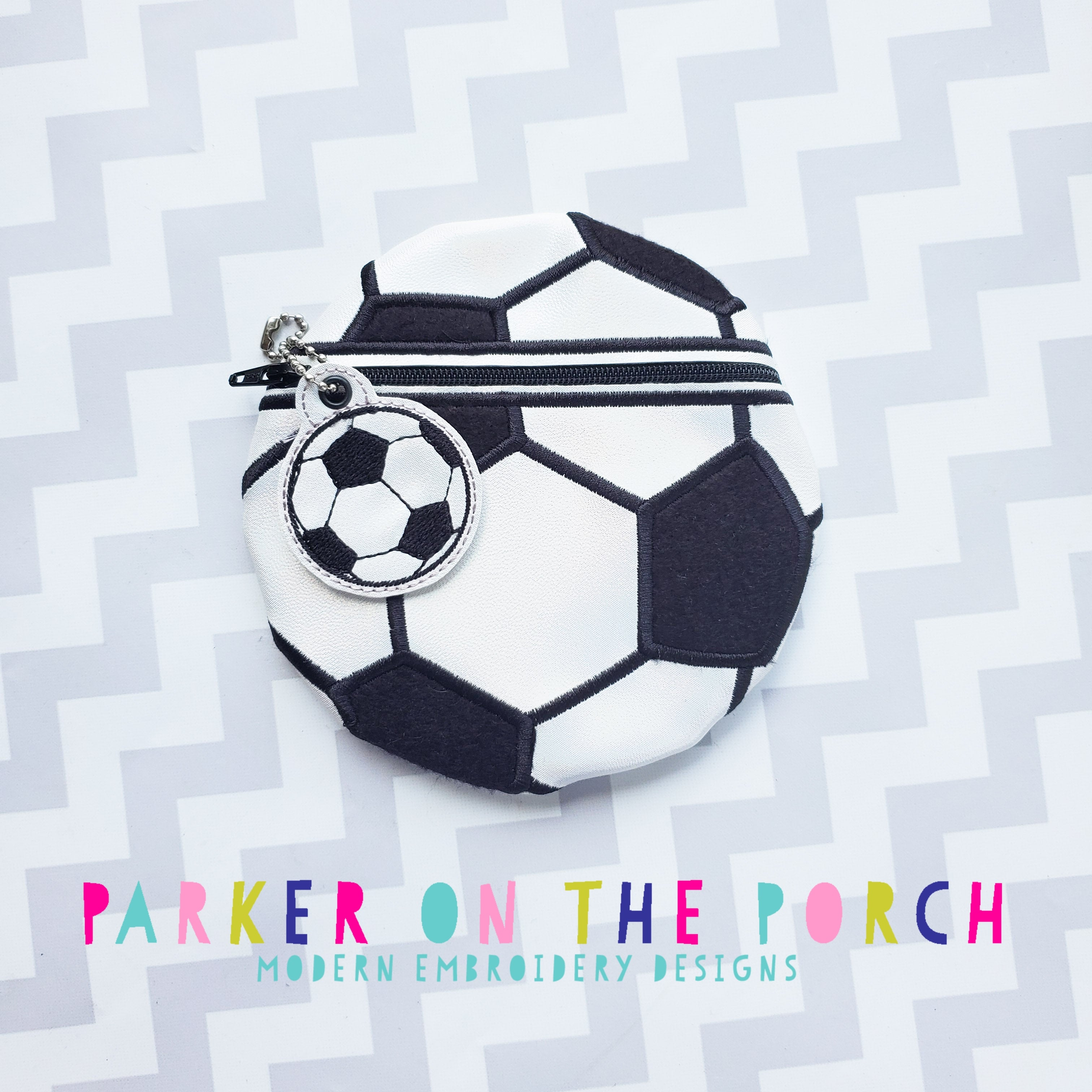 Digital Download - Soccer Zipper Bag - in the hoop machine embroidery ITH pattern