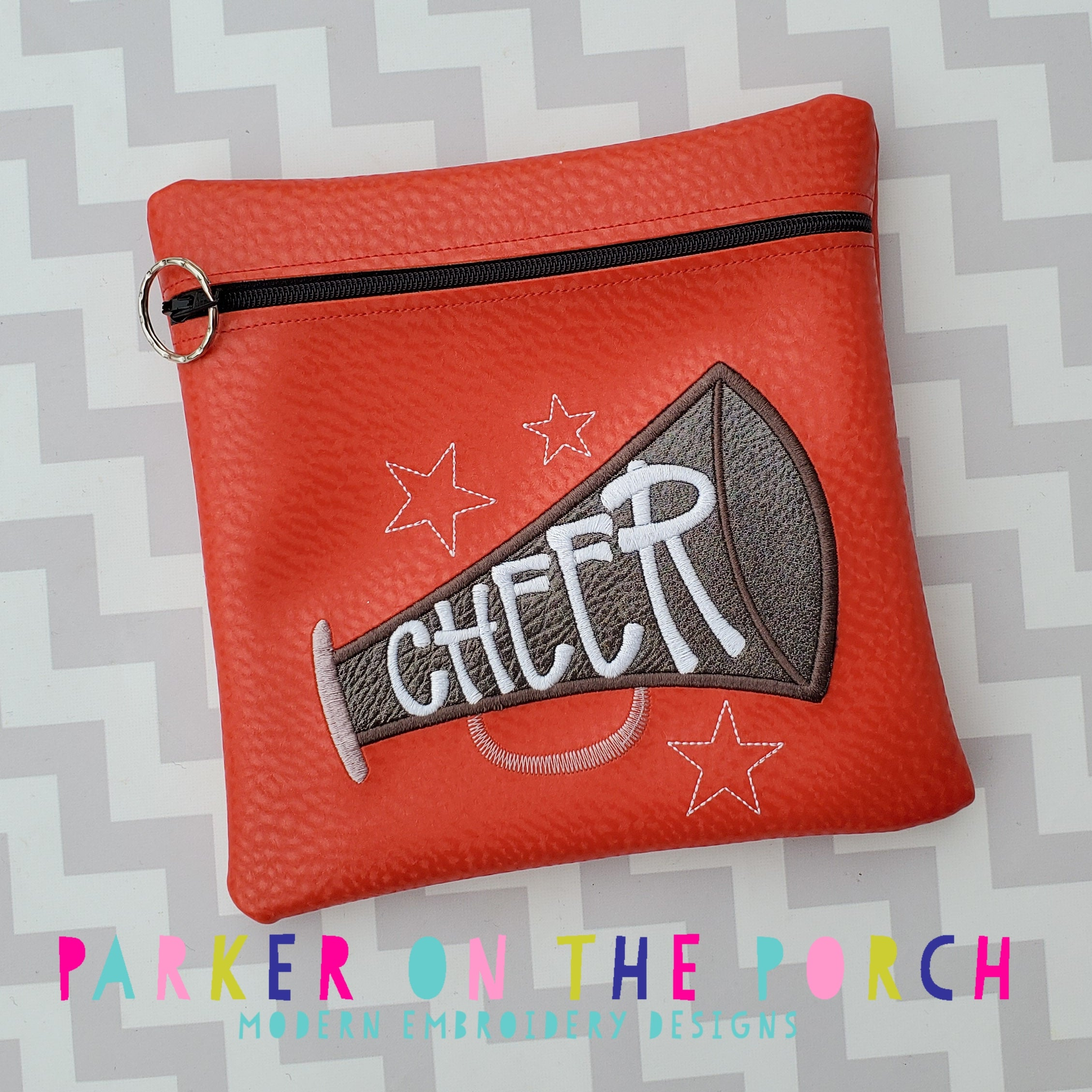 Digital Download - Cheer Zipper Bag - in the hoop machine embroidery ITH pattern