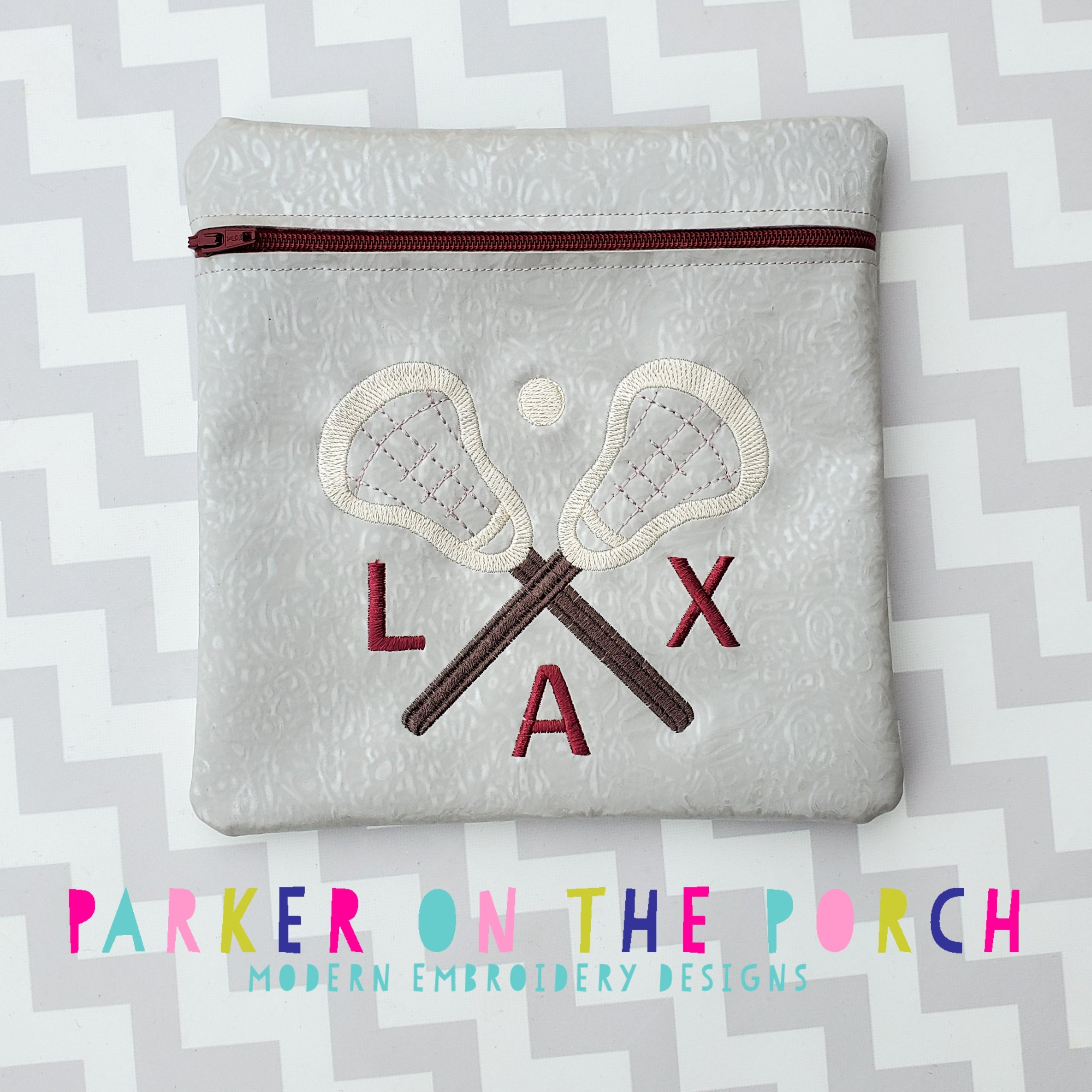 Digital Download - Lacrosse ( LAX ) Zipper Bag - in the hoop machine embroidery ITH pattern