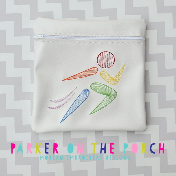 Digital Download - Running Zipper Bag - in the hoop machine embroidery ITH pattern