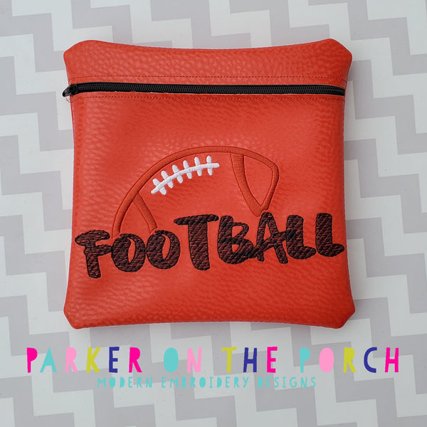 Digital Download- Football Square  Zipper Bag - in the hoop machine embroidery
