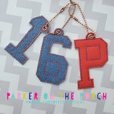 Digital Download - College Alpha Monogram XL Charms - in the hoop machine embroidery ITH pattern