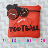 Digital Download - Football Square Zipper Bag - in the hoop machine embroidery ITH pattern