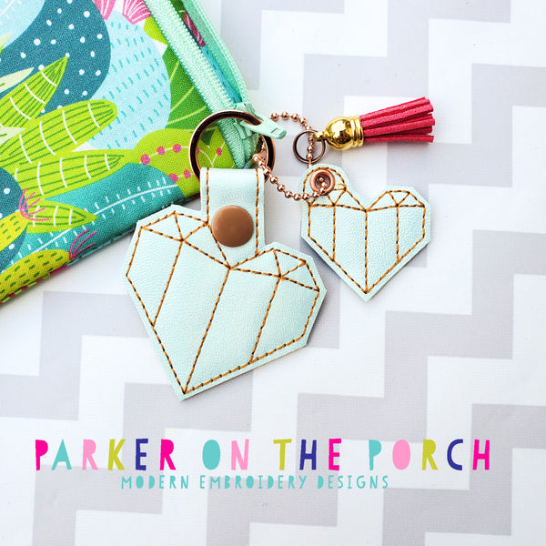 Digital Download - Origami Heart Snaptab and Charm Set - in the hoop machine embroidery ITH pattern