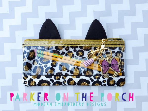 Digital Download - Kitty Top Zip Pencil Bag and Charm Bundle - in the hoop machine embroidery ITH pattern