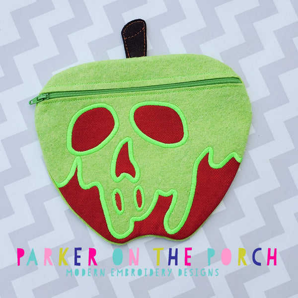 POP- Magical Apple Zipper Bag - in the hoop machine embroidery ITH pattern