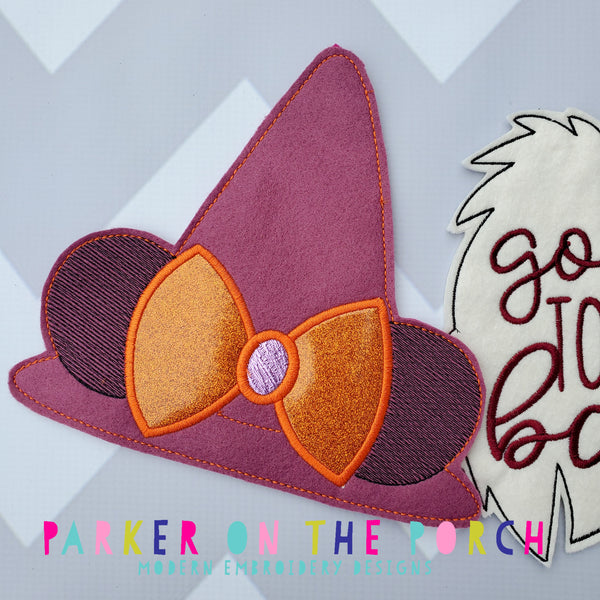 Digital Download- Magical Witch Hat Banner - in the hoop machine embroidery ITH pattern