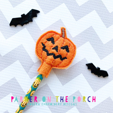 Digital Download- Pumpkin Pencil Topper - in the hoop machine embroidery ITH pattern